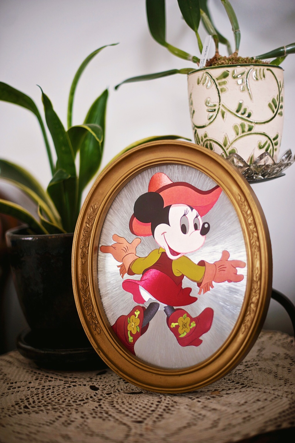 Vintage Minnie Mouse Foil Finish Print in Vintage Frame