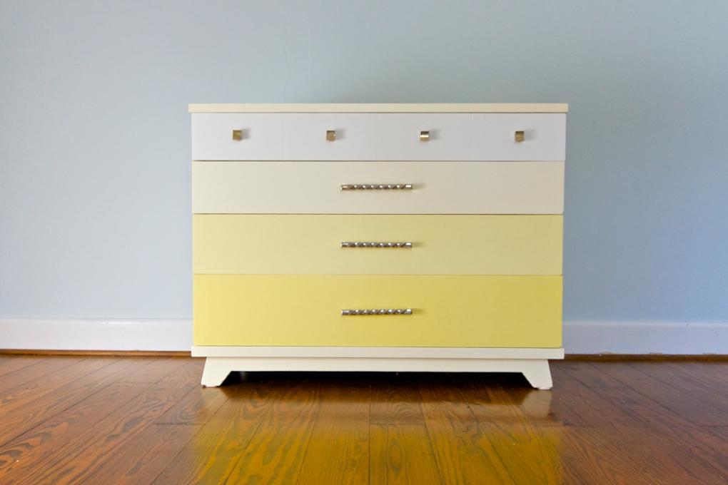 Yellow Gradient Dresser - Mid Century Glam