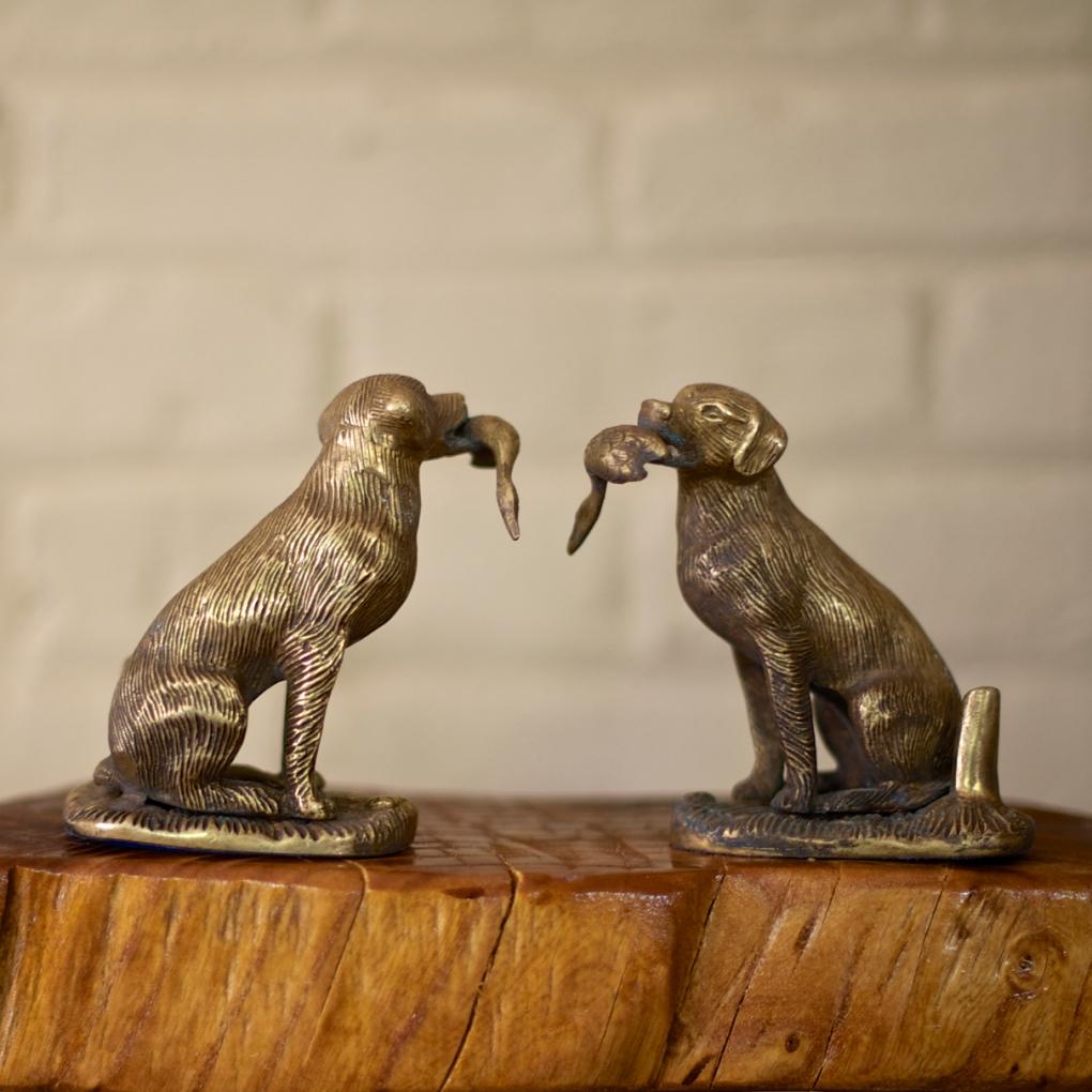 Brass Dog Statues Buena Buena Vintage