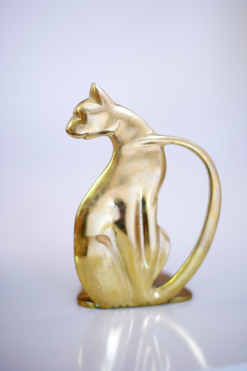 Brass Cat Bookend Buena Buena Vintage