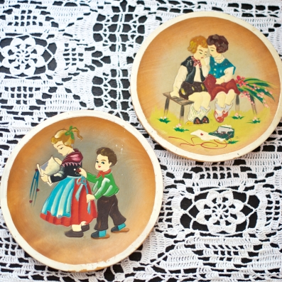 Vintage Hand Painted Carved Wood Images   Naughty Kids