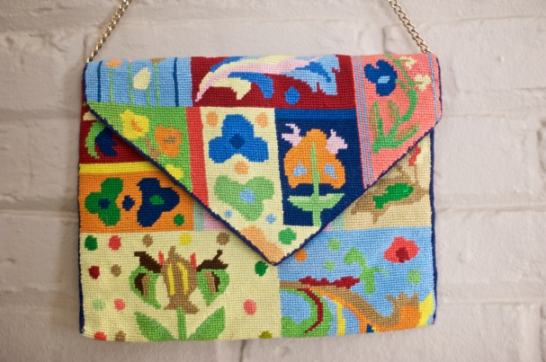 Vintage handmade needlepoint purse