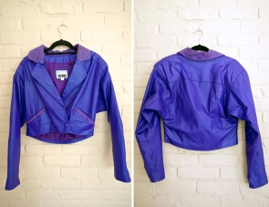 1980s Purple Leather Moto Jacket