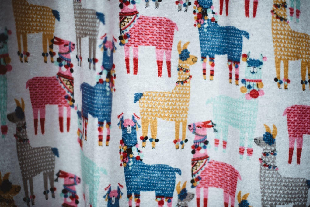 colorful llama curtains